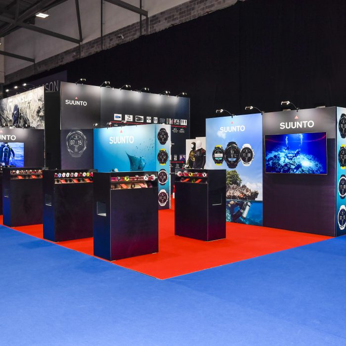 Custom built exhibition stand design for Suunto