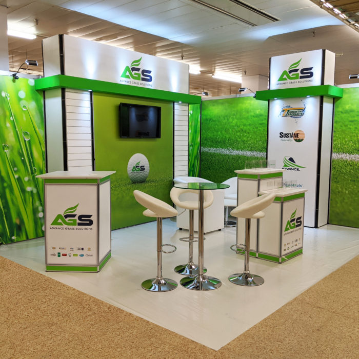 Exhibition stand design for Advance Grass Solutions