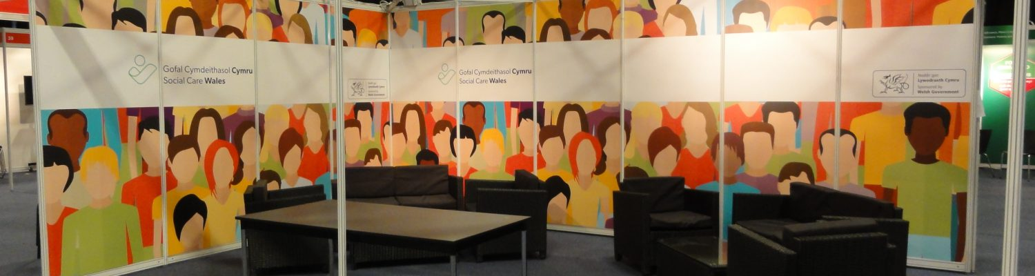 Shell scheme upgrade exhibition stand for Social Care Wales