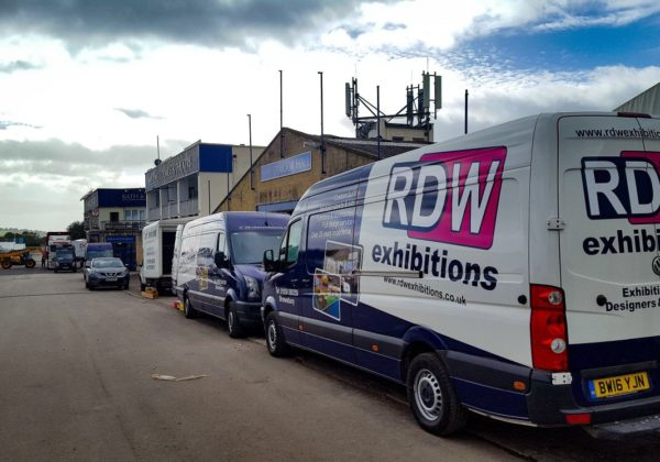 RDW Exhibitions' vans at The Dairy Show